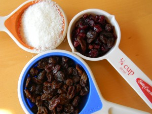 Mix-in ingredients: finely shredded coconut, craisins, and raisins