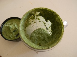nettles and nooch pesto in blender