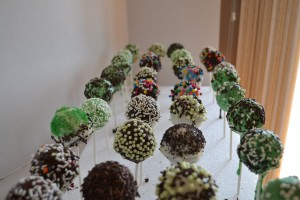 Cake Pops Setting in Styrofoam