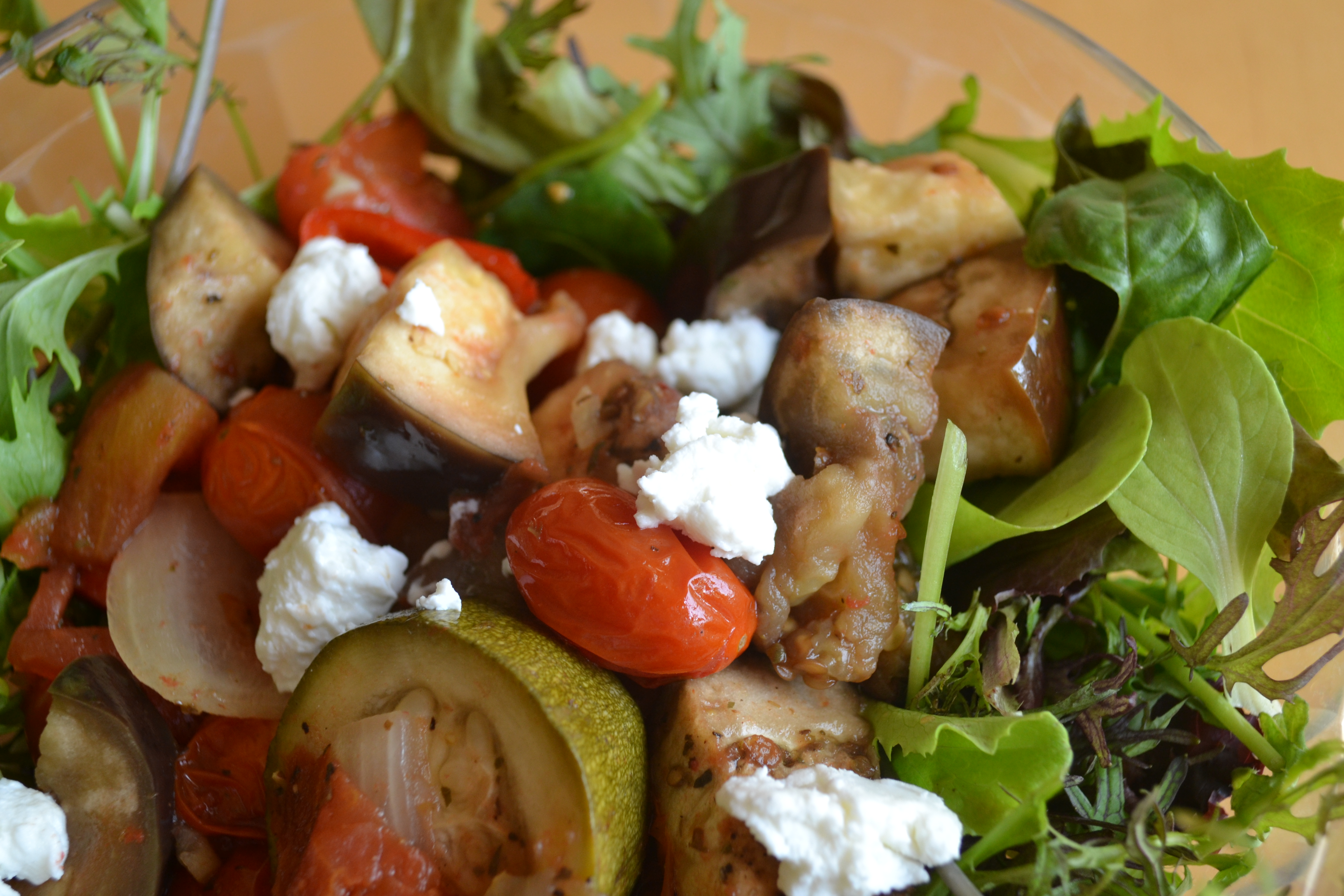 Ratatouille with Goat Cheese and Spring Mix