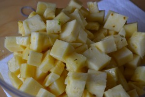 cut up pineapple for pineapple infused vodka