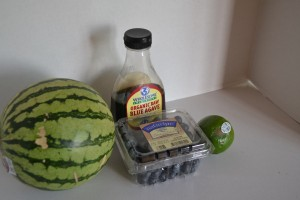 Ingredients for homemade watermelon ice pops