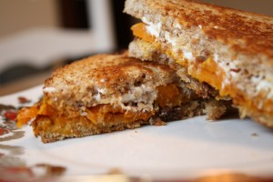 roasted butternut squash and goat cheese sandwich