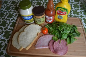 Ingredients for damn good sandwich
