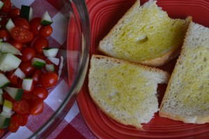 Bruschetta Salad: With oiled bread