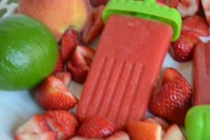 strawberry and peach popsicles
