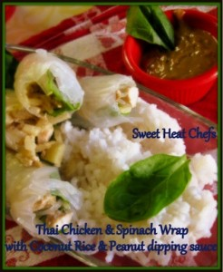 thai rolls with coconut rice