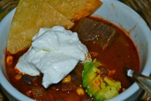 red beef chili with the works