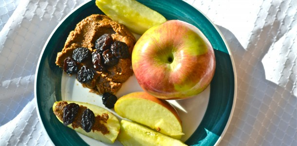 sunflower seed butter with apples and raisins