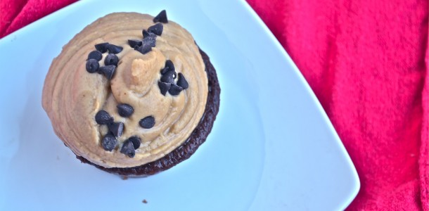 clean chocolate cupcake with peanut butter frosting