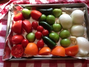 5 cups tomatoes, 5-7 tomatilos, 2 white onions, 3 jalapenos, 3 cloves of garlic