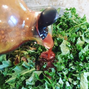 dressing on kale salad